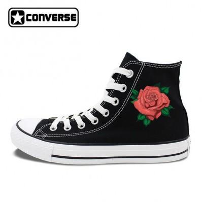 converse femme avec rose